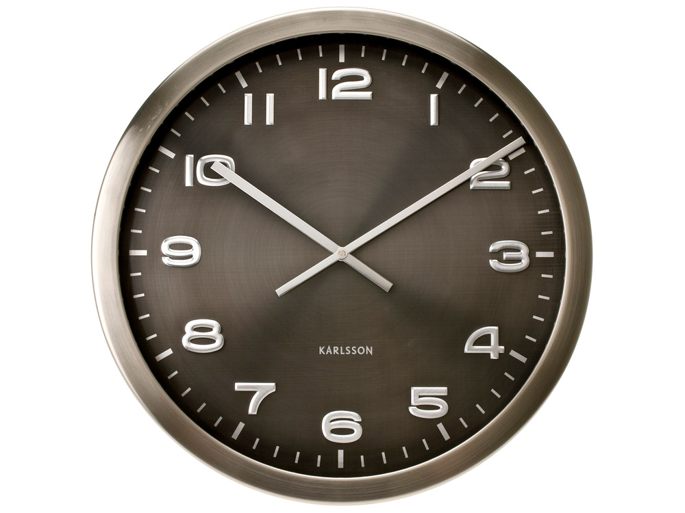 Karlsson Wall Clock Maxie Steel Polished Grey